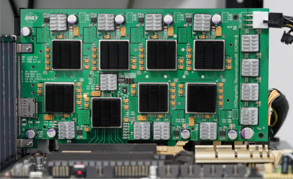 HORN-8 has eight chips mounted on a Field Programmable Gate Array (FPGA) board.